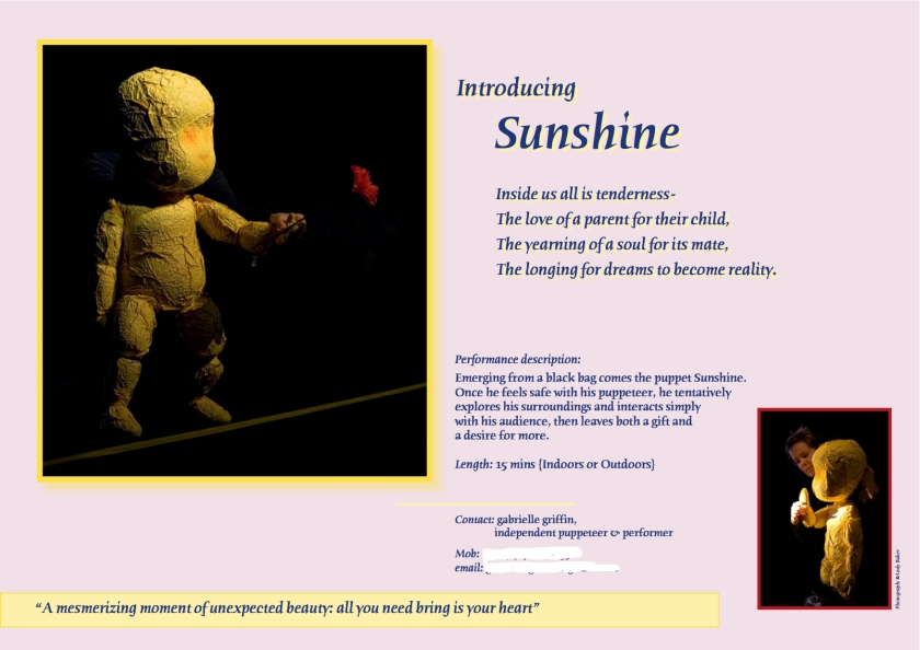Puppet promotion flyer, theatre lighting, creativity and travel