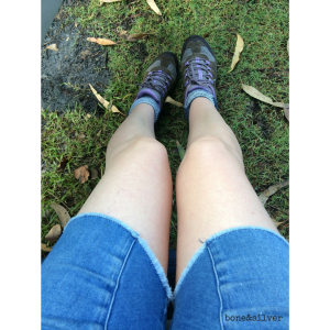 Hiking boots and cut off baggy shorts, so glamorous now I'm over 50