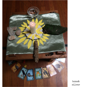 A simple altar, including the Tarot cards which we each pulled, and the 4 elements of #earth #air #fire #water #altar #tarot #Australia #ecovillage #over50 @boneAndsilver