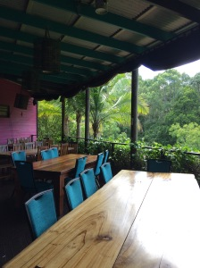 Verandah lunch tables #Australia #ecovillage #rainforest #retreat #over50