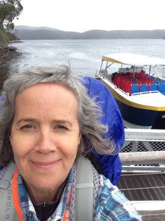 Selfie before I get on the Tasmanian ferry for the Three Capes Track walk