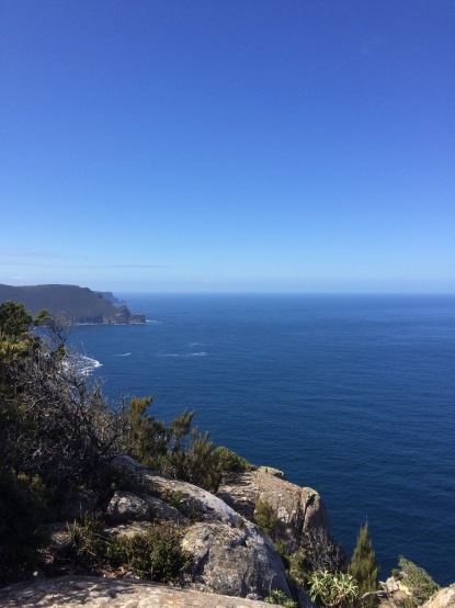 Cliff views on a hiking adventure in Tasmania for wellbeing and a 50th birthday adventure