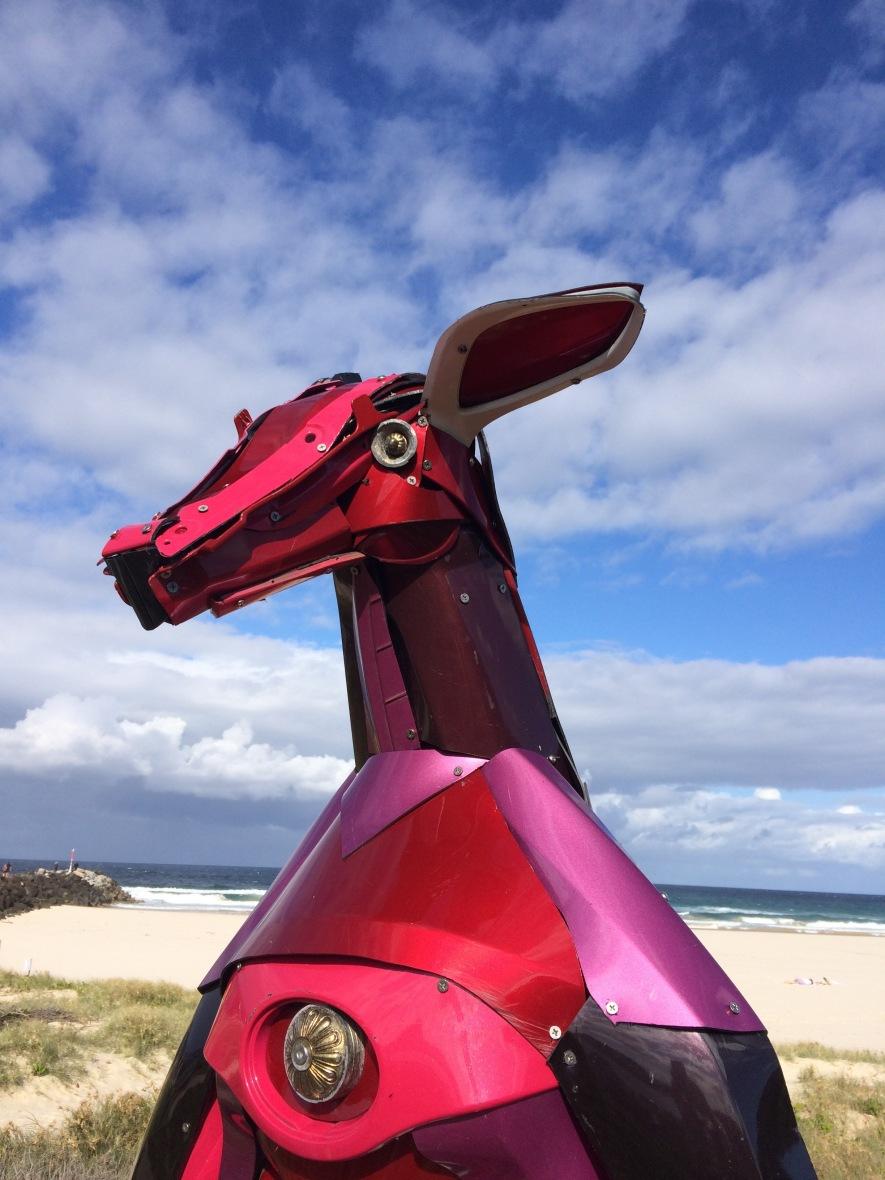 Kangaroo sculpture from old car parts