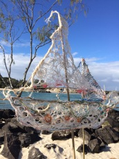 Made from found nets and fishing lines #sculpture #Australia #art #creativity